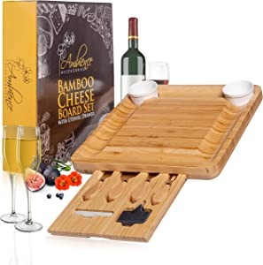 Charcuterie Board Set - Bamboo Cheese Board With Utensil Drawer Including Knife Set And Accessories - Perfect For Hosting Parties - Arrives In A Gorgeous Gift Box