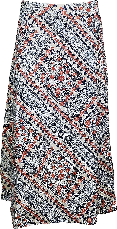 Indiatrendzs Womens White Blue Skirts, Broomstick Summer Maxi Skirt S/M