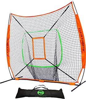 Flair Sports Baseball & Softball Net for Hitting & Pitching   Heavy Duty 7x7 Pro Series   Indoor & Outdoor Training Net   Bow Frame + BONUS Strike Zone Included