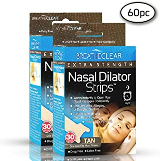 Breathe Clear Anti Snoring Nasal Strips | Improve Sleep, Stop Snoring | Nasal Congestion Relief for Colds, Allergies, Other Congestion Ailments ● Hypo Allergenic Snore Reducing Strips (60 Count, Tan)