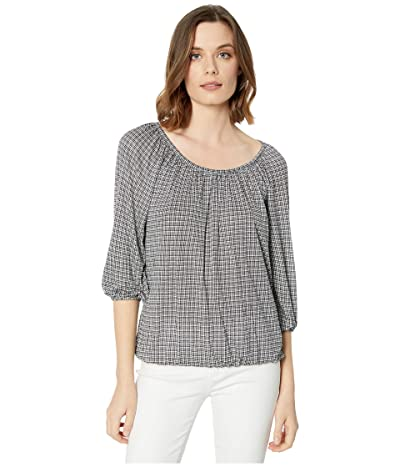 MICHAEL Michael Kors Cheeky Check Peasant Top (White) Women