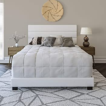 Boyd Sleep Montana Upholstered Platform Bed Frame Mattress Foundation with Tri-Panel Headboard and Strong Wood Slat Supports: Faux Leather, White, Twin