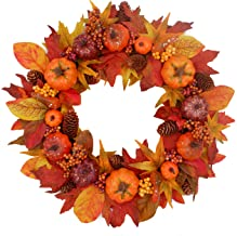 Tiny Land 20 inches Fall Wreath for Front Door - Bonus Decor Pack (18 pcs) - Handcrafted Boxwood Base- Ideal for Autumn& Halloween& Thanksgiving Day