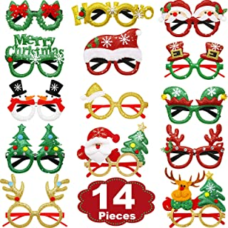 BBTO 14 Pairs Christmas Party Glasses Santa Snowman Costume Party Hats and Tree Glitter Eyeglasses Christmas Decorations f...