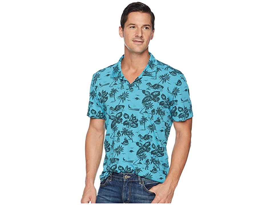 Agave Denim North Shore Short Sleeve Johnny Collar Polo (Blue Moon) Men