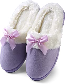 Women's Suede Plush Bow Close Toe Memory Foam Indoor Slip On Clog Slipper Bedroom Indoor House Scuff Shoes