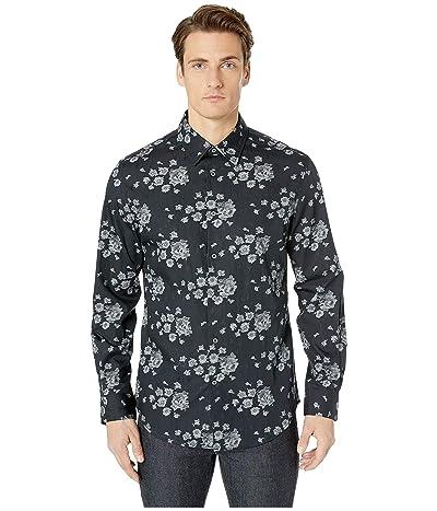 John Varvatos Collection Slim Fit Shirt with Split Yoke W194U4 (Black) Men