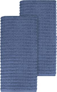 """Ritz Royale Collection 100% Combed Terry Cotton, Highly Absorbent, Oversized, Kitchen Towel Set, 28"""" x 18"""", 2-Pack, Solid Federal Blue"""