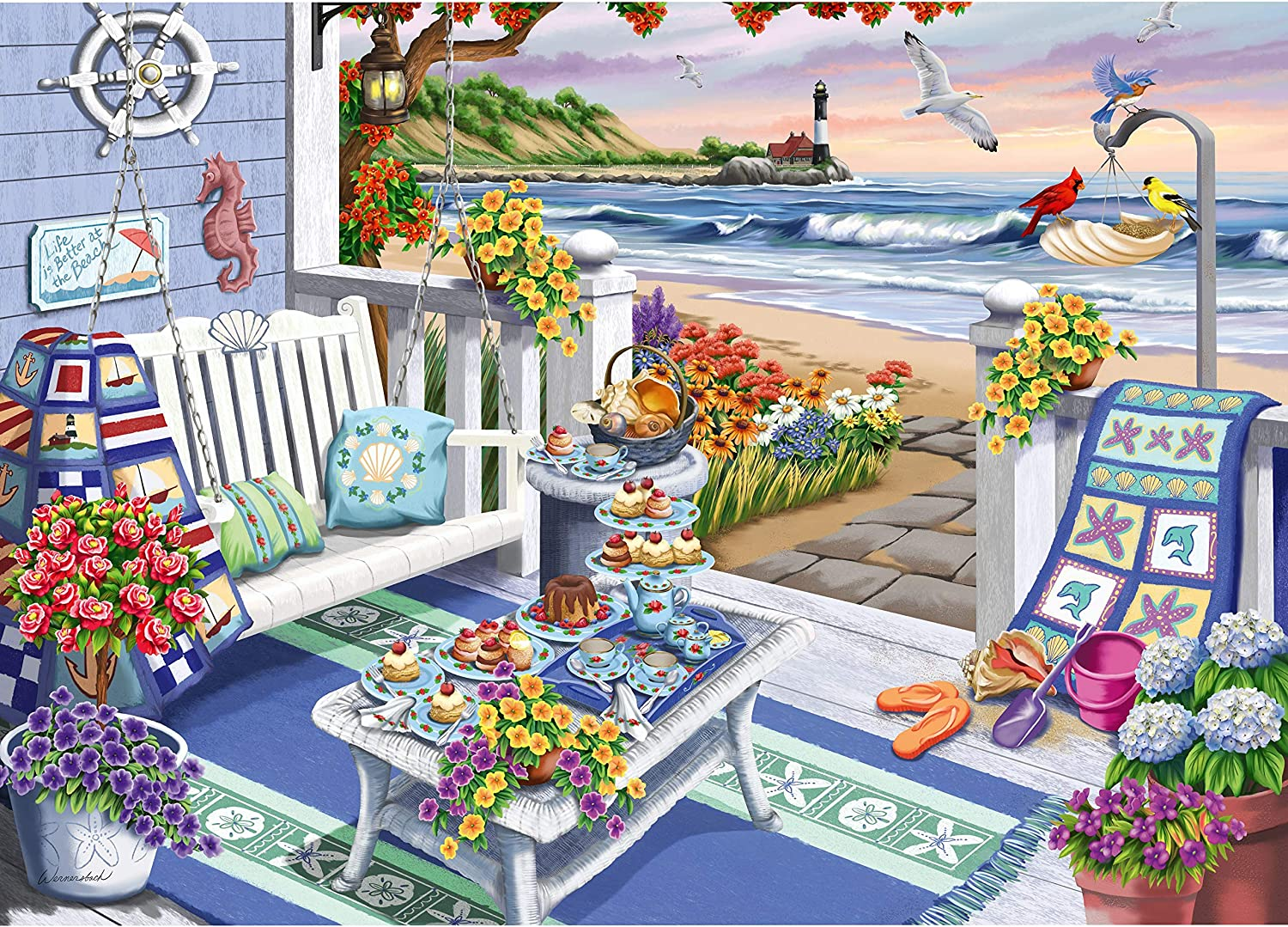 Ravensburger Cozy Series: Seaside Sunshine 300 Piece Large Format Jigsaw Puzzle for Adults - Every Piece is Unique, Softclick Technology Means Pieces Fit Together Perfectly