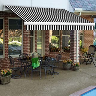 Awntech 14-Feet Maui-LX Manual Retractable Acrylic Awning, 120-Inch Projection, Black/White