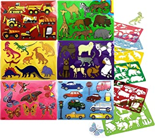 Schylling Art Box Stencils with Line Art & Coloring Guide Featuring Construction Vehicles, Vehicles, Zoo Animals, Butterfl...