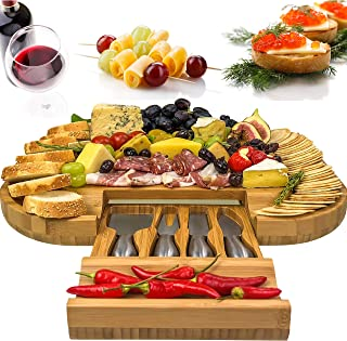 Solander Skelf Bamboo Cheese Board with Drawer & 4 Stainless Steel Cheese Knives Luxury Set | Deluxe Extra Spaces Serving Board Slide-Out & Utensils Gift Set | Extensive Serving Set Large 100% Bamboo