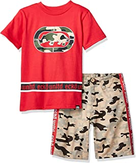 Boys Sleeve Print T-Shirt and Camo Short Set