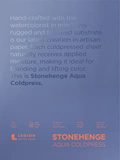 Stonehenge Aqua Watercolor Block, 140 Pounds, Cold Press, 12 by 16 Inches, 15 Sheets, White
