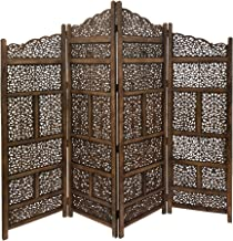 Benjara Hand Carved Foldable 4-Panel Wooden Partition Screen/Room Divider, Brown