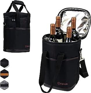 OPUX 4 Bottle Wine Cooler Bag | Wine Bottle Carrier for Travel | Wine Tote with Adjustable Shoulder Strap and Padded Protection (Black)