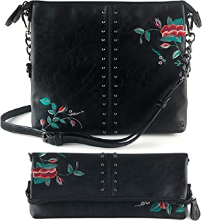 The Stevie Crossbody Bags for Women, Gun Metal Studs, Rocker Chic