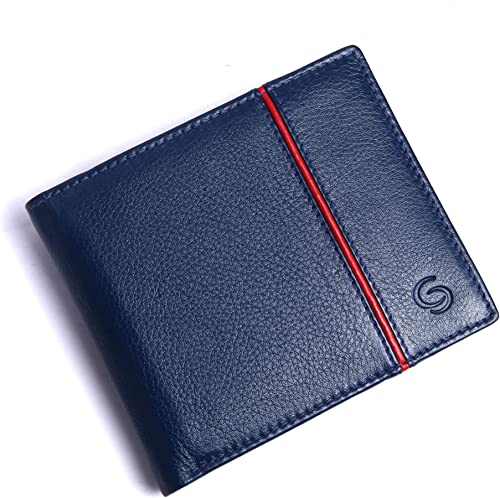 Men s Florence Leather Purse Leather Wallet for Mens RFID Blocking Genuine Leather Mens Wallet Blue and Red