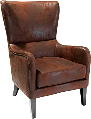 Christopher Knight Home Lorenzo Fabric Studded Club Chair, Brown