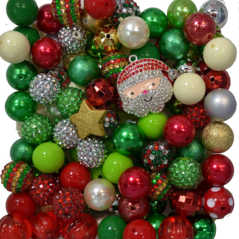 Christmas Holiday Themed Bulk Party Mix of 20mm Loose Acrylic Bubblegum Beads with Santa Pendant 122 Beads