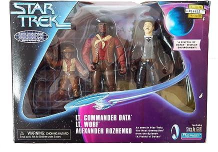 Star Trek Holodeck Series: Lt. Commander Data, Lt. Worf, and Alexander Rozhenko Action Figure Collectors Series Edition