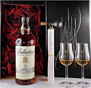 Geschenk Ballantines 12 Jahre Whisky  Glaskugelportionierer  2 Bugatti Gläser