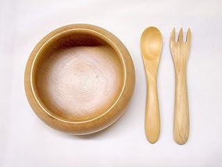使いやすい 自然素材で作った 木製 子ども用 食器 僕の器 スプーン&フォークのセット ツゲ製 ショップSai