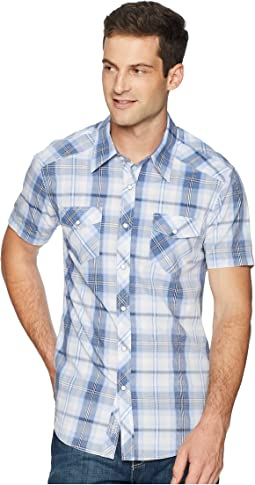Short Sleeve Snap Plaid B1S6023