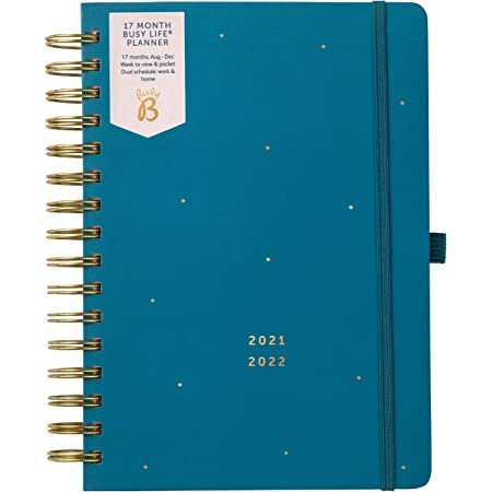 Busy B Mid Year 17 Month Busy Life Planner August 2021 - December 2022. Teal A5 Week to View Planner with Dual Schedules, Pocket and Shopping Lists