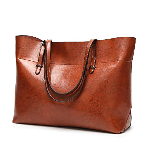 Womens Soft Leather Handbags Large Capacity Retro Vintage Top-Handle Casual  Tote Shoulder Bags Brown 895127cdfd32f