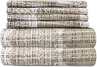 Queen Sheets Printed - 6 Piece 1500 Thread Count Fine Brushed Microfiber Deep Pocket Queen Sheet Set Bedding - 2 Extra Pillow Cases, Great Value, Queen, Monaco