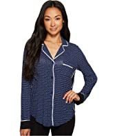 Donna Karan - Long Sleeve Notch Collar Top