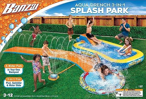 2021 BANZAI outlet online sale Aqua Drench 3-in-1 Splash Park, new arrival Multi online sale