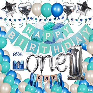 Baby Boy 1st Birthday Decorations Kit - Silver and Blue Decor for Little Man First Birthday Party - Boy 1st Birthday Decorations with