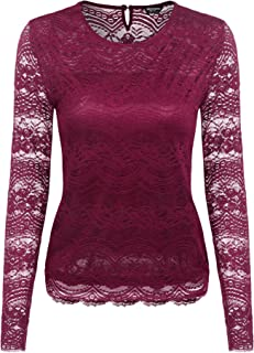 fa7fecd4d49cc2 Zeagoo Damen Langarmshirt Spitze Oberteile Rundhals Lace Bluse mit Floraler  Spitze