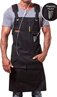ARAWAK BRAVE Work Apron for Men Women Heavy Duty Waxed Canvas Black Waterproof Shop Bib..