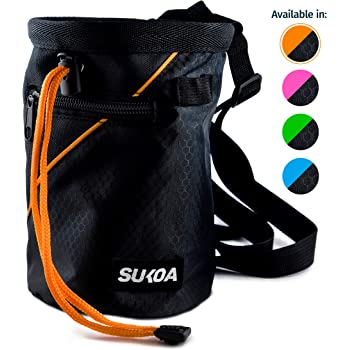 Sukoa Chalk Bag for Rock Climbing - Bouldering Chalk Bag Bucket with Quick-Clip Belt and 2 Large Zippered Pockets - Rock Climbing Gear Equipment