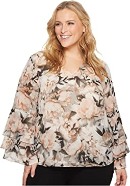 Calvin Klein Plus - Plus Size Print Ruffle Long Sleeve Blouse