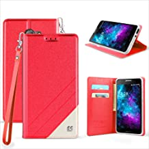 Alcatel A30 Case, Alcatel Kora Case [Kickstand Feature] Premium PU Leather Flip Fold Wallet Case with [ID&Credit Card Slot] For Alcatel A30 Verizon/Alcatel A30 GSM/Kora (Red)