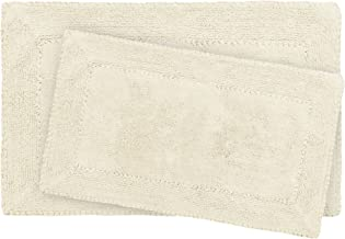 Laura Ashley Ruffle Cotton 2-Piece Bath Rug Set, Ivory