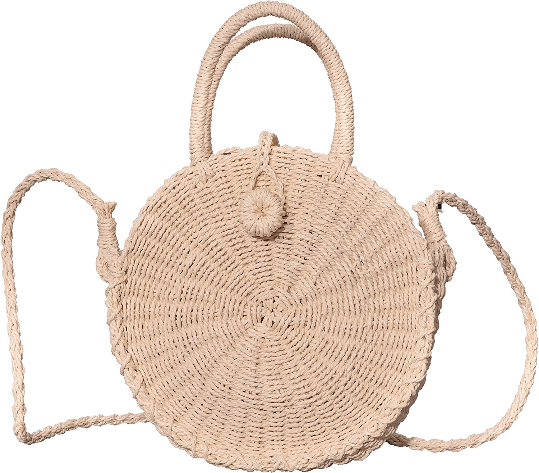 Beurlike Womens Straw Crossbody Bag Round Handbag Shoulder Bag for Beach Travel
