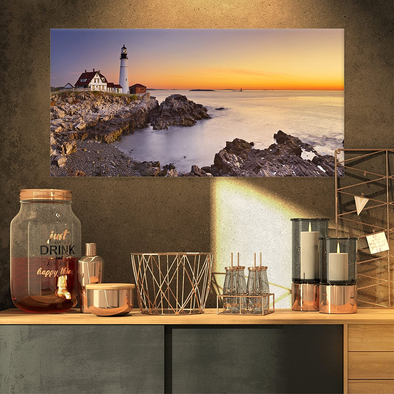 Designart PT11586-32-16 Portland Head Lighthouse Maine-Modern Seascape Canvas Artwork-32X16, 32x16