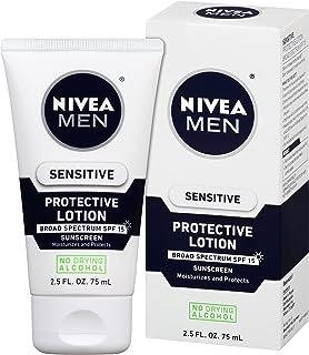 NIVEA Men Sensitive Protective Lotion - Moisturize With Broad Spectrum SPF 15 - 2.5 fl. oz. Bottle