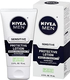 NIVEA Men Sensitive Protective Lotion - Moisturize With Broad Spectrum SPF 15-2.5 fl. oz. Bottle