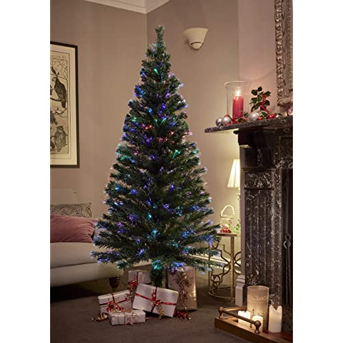 Jaymark Products 6ft 180cm Classic Green Christmas Tree Fibre Optic Pre Lit LED Lights