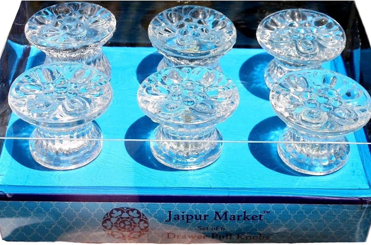 Tampa Mall Jaipur Market Set of 6 Popular product Drawer Look Pull Knobs Crystal