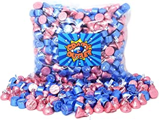 CrazyOutlet Pack - Blue Rolo Caramel Milk Chocolate Candy, Pink Foils Hershey's Kisses - Gender Reveal Candy Mix, 2 Lbs