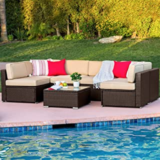 Best Choice Products 7-Piece Modular Outdoor Patio Rattan Wicker Sectional Conversation Sofa Set w/ 6 Chairs, Coffee Table, Weather-Resistant Cover, Seat Clips, Minimal Assembly Required - Brown