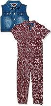 7 For All Mankind Girls' Toddler 2 Piece Romper and Denim Vest Set