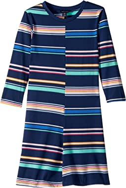 Yarn-Dye Multi-Stripe Split Dress (Big Kids)